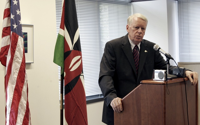 Ranneberger, U.S. ambassador to Kenya, speaks at news conference in Nairobi